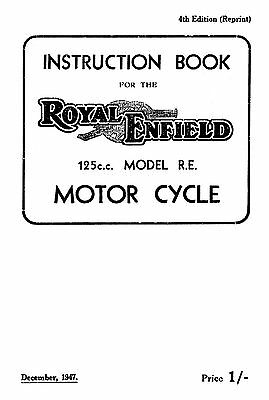 (1091) 1945-1949 Royal Enfield RE model instruction book