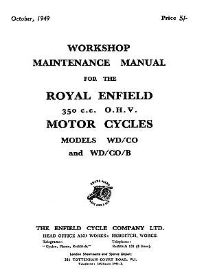 Royal Enfield WD models WD/CO & WD/CO/B Workshop manual
