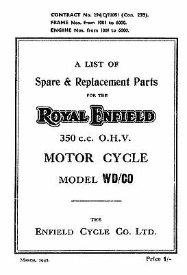 1942 Royal Enfield WD model WD/CO parts book
