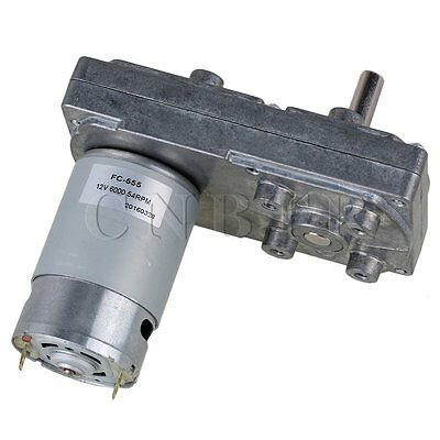 DC 12V 54RPM Square High Torque Silver Gearbox Geared Electric Drive Motor Metal