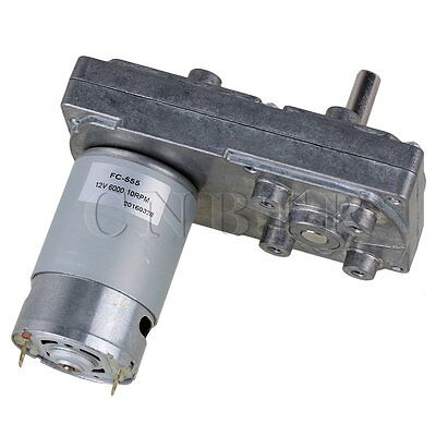 DC 12V 10RPM Square Metal Silver High Torque Gearbox Geared Electric Drive Motor