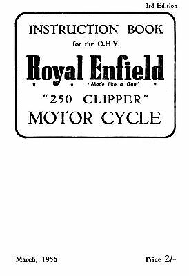 (1559) 1956 Royal Enfield model 250 Clipper instruction book