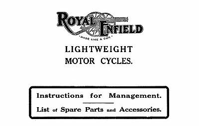 (1560) 1920's Royal Enfield Instructions & parts for lightweight V Twin
