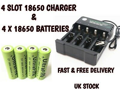 4 x UltraFire 18650 8800mAh 3.7V Li-ion Rechargeable 3 PIN UK Battery Charger