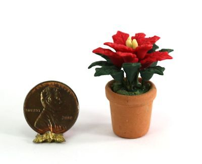 A176 Dollhouse Miniature Holiday Poinsettia in Clay Pot