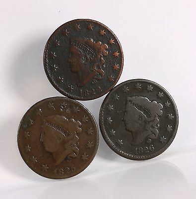 3 Pack US Large Cents 1822 1825 1826 Mixed Date Circulated US Mint Copper Coins