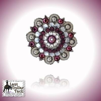 """Amethyst Crystal Berry Concho Replacement For Western Headstall 1.3/4"""" - Pk2"""