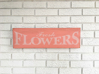 "Large Rustic Wood Sign - ""Fresh Flowers"" Fixer Upper Woman cave Garden"