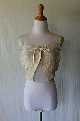 Vintage Edwardian Peach Silk & Ivory Lace Corset Cover Camisole Size 40 or Small