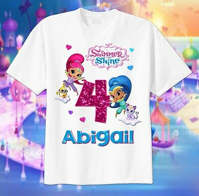 Shimmer and shine custom t shirt birthday personalize add for Custom t shirts add photo