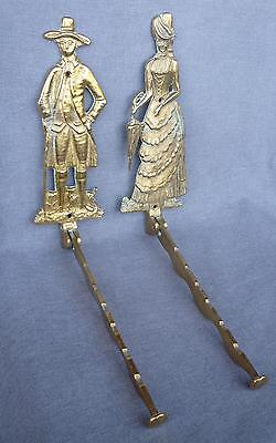 Antique pair of french hooks hangers made of brass mid-1900's couple, gentleman