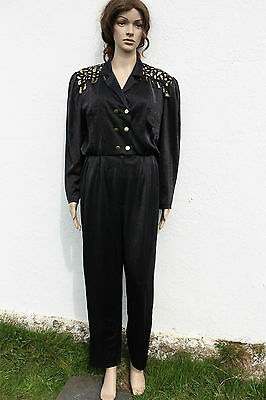 Vintage 1980s Black Gold Tassel Fringed Jumpsuit All-in-one Fancy Dress 8-10
