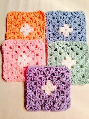 "20 4 1/2"" PASTELS PINK BLUE Hand Crochet GRANNY SQUARES Throw Blanket Blocks"