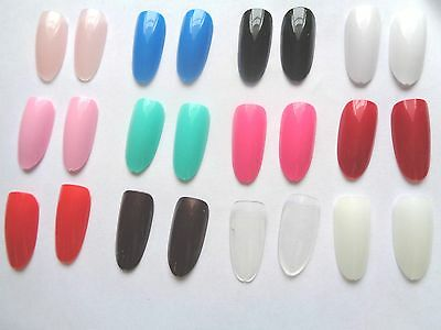 20  x  OVAL  HEAD  COLOURED -  FULL FALSE NAILS - 13 COLOURS