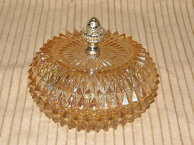 Tiara Exclusive Indiana Glass Candy Covered Dish-Trinkets-- Amber