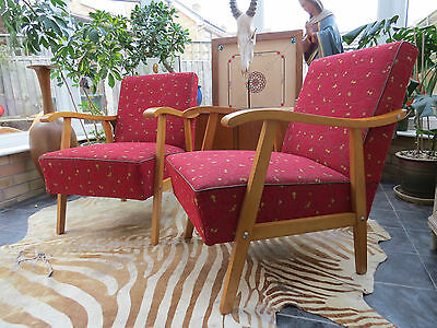 GREAT PAIR OF VINTAGE  DANISH STYLE EAST GERMAN LOUNGE ARM CHAIRS 1950's