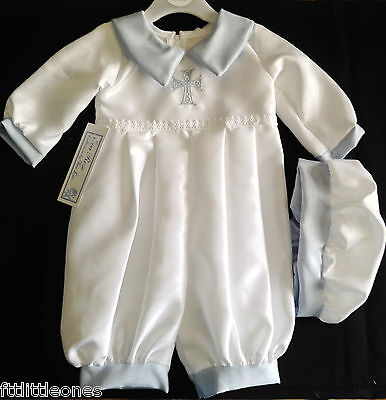 Baby Boys White & Sky Christening Romper/outfit/suit,cap, Celtic Cross, Baptism