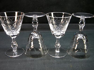 Set of 4 Mid-Century Heavy Clear Elegant Cut Crystal Water Goblets  (hah)