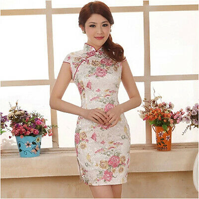 Retro Chinese Women Dress Evening Party Short Silk Cheongsam QiPao Peony Print