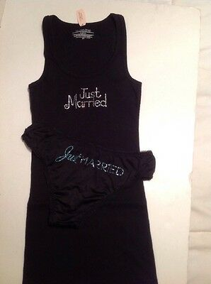 "Victorias Secret Bridal Black Tank Top w/ Panty ""Just Married"" Bling Small Set"