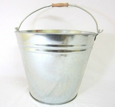 2 x 15 Litre GALVANISED BUCKET WITH HANDLE LARGE SILVER ICE BUCKET PARTY BBQ