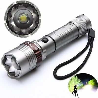 Tactical Military 8000LM XM-L T6 LED Rechargeable Zoom Flashlight Torch Lamp
