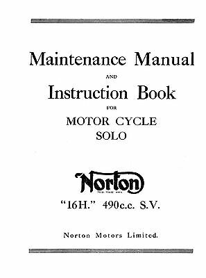 Norton 16H WD maintenance manual and instruction book