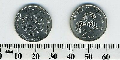 Singapore 1988 - 20 Cents Copper-Nickel Coin - Powder-puff plant