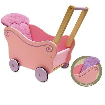 NEW I'm Toy Traditional Pink Wooden Dolls Buggy Pram Stroller