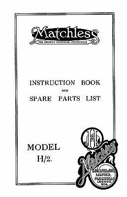 1921 Matchless H/2 'V' twin instruction & parts book