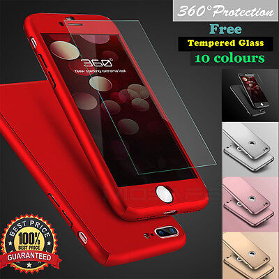 Hybrid 360° Hard Ultra Thin Case + Tempered Glass Cover F Iphone 7 6 6S Plus 5Se