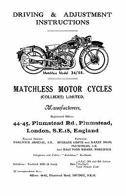1934 Matchless model 34/X4 'V' twin instructions