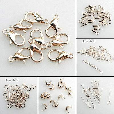 Free Shipping Rose Gold Jewelry Finding Lobster Clasp Extend Chain For Bracelet