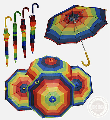 Rainbow Umbrella Childrens Kids Bright Colourful Rain Dance perfomance plays NEW