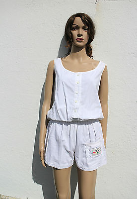 Vintage 80s White Playsuit All-in-One Romper Summer Beach 8-10