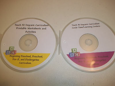 2 Disc CD-R Set.  Preschool Worksheets and Circle Time in PDF files. Prints 3000