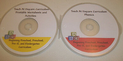 2 Disc CD-R Set.  Preschool Worksheets and Phonics in PDF files. Prints 3000 pgs