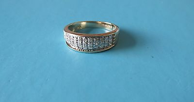 9ct Gold Diamond Band Ring 0.25ct Pave Set  Size N 1/2  Hallmarked  - USED