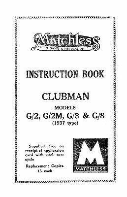 1937 Matchless Clubman instruction book