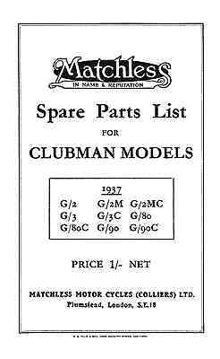 1937 Matchless OHV models parts book