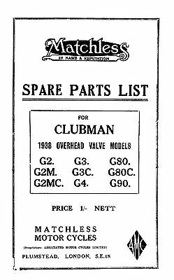 1938 Matchless OHV Clubman models parts book