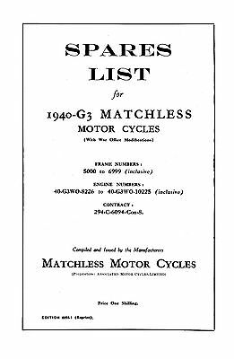 1940 Matchless W.D. Model 40-G3WO parts book