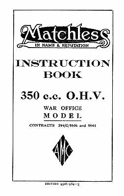 1941 Matchless G3L WD instruction book