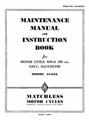 1941 Matchless model 41G3L instruction book