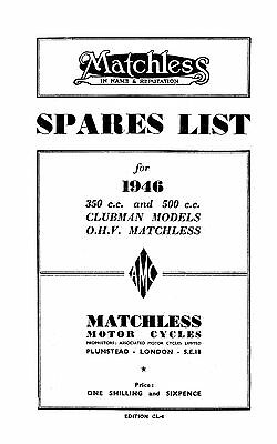 1946 Matchless Clubman models 46/G3L, 46/G80 parts book