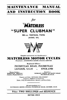 1950 Matchless Twin cylinder models maintenance manual
