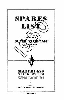 1950 Matchless twin cylinder models parts book