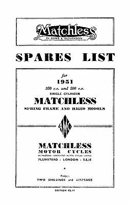 1951 Matchless Single cylinder models parts book