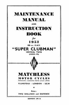 1951 Matchless Twin cylinder models maintenance manual