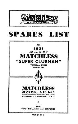 1951 Matchless twin cylinder models parts book